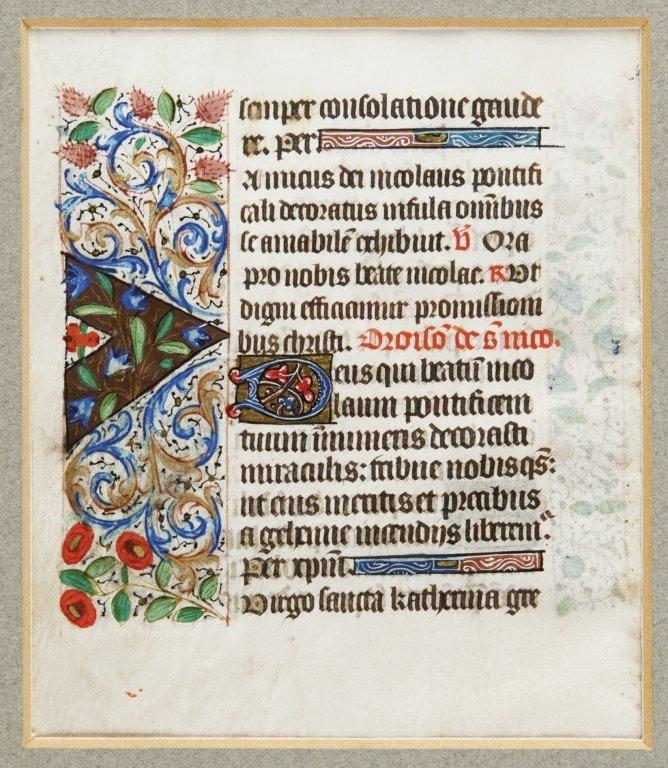 Pagina miniata a doppia facciata su pergamena,