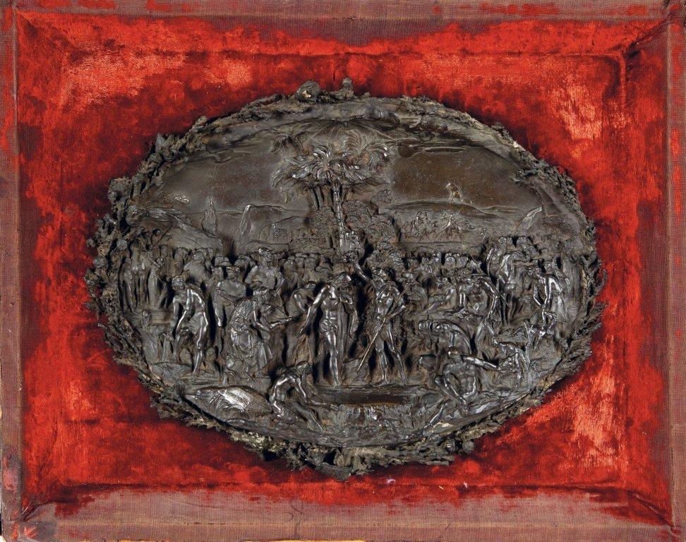Placca in bronzo brunito raffigurante il