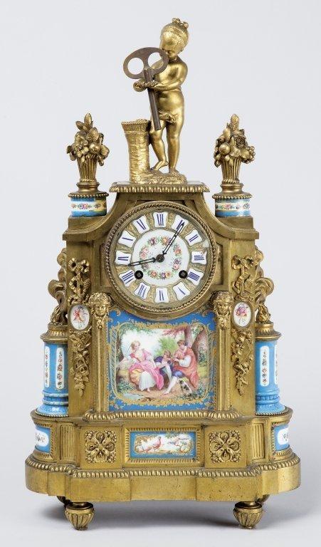 Pendola Napoleone III in bronzo dorato con