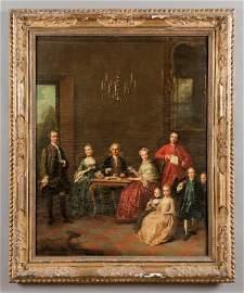"""Scuola veneta sec.XVIII """"Ritratto di famiglia in"""