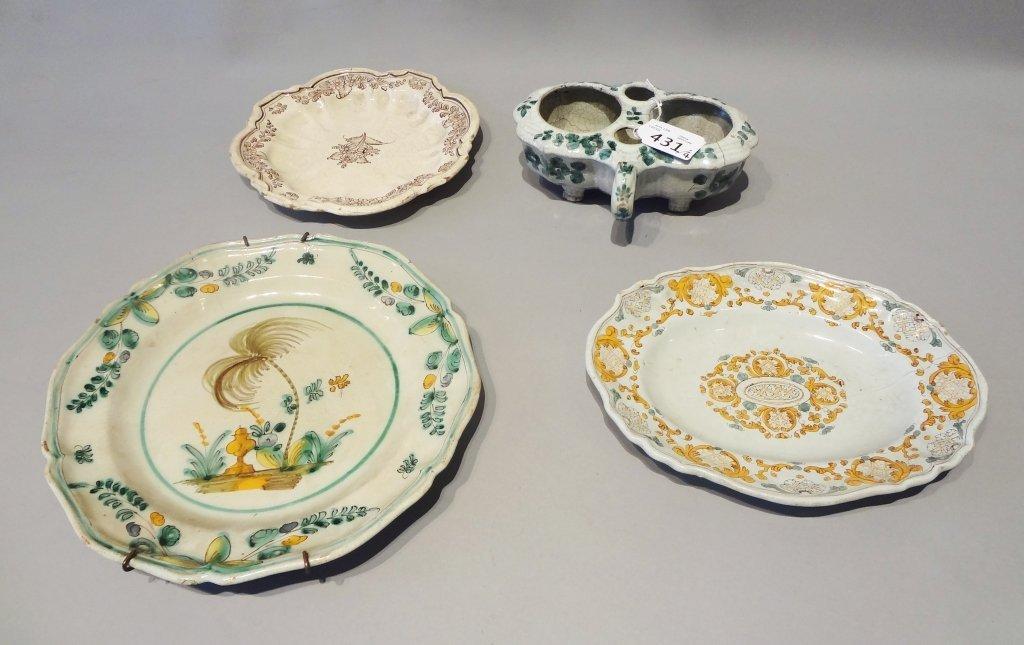Tre piatti e un'oliera in ceramica Cerreto