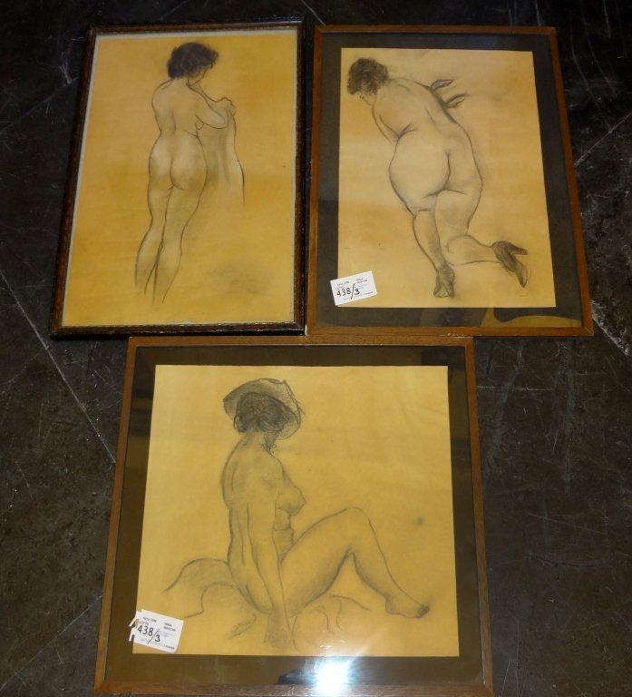 """Nudi femminili"" tre disegni"