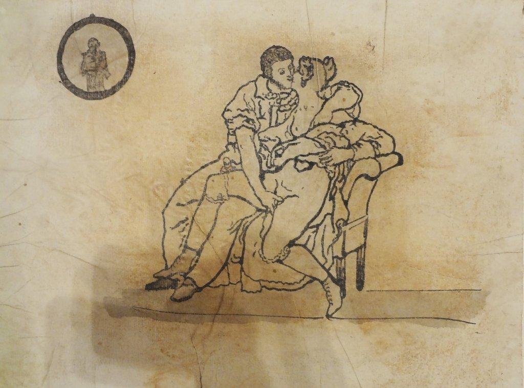 Antica raccolta di 23 disegni pornografici