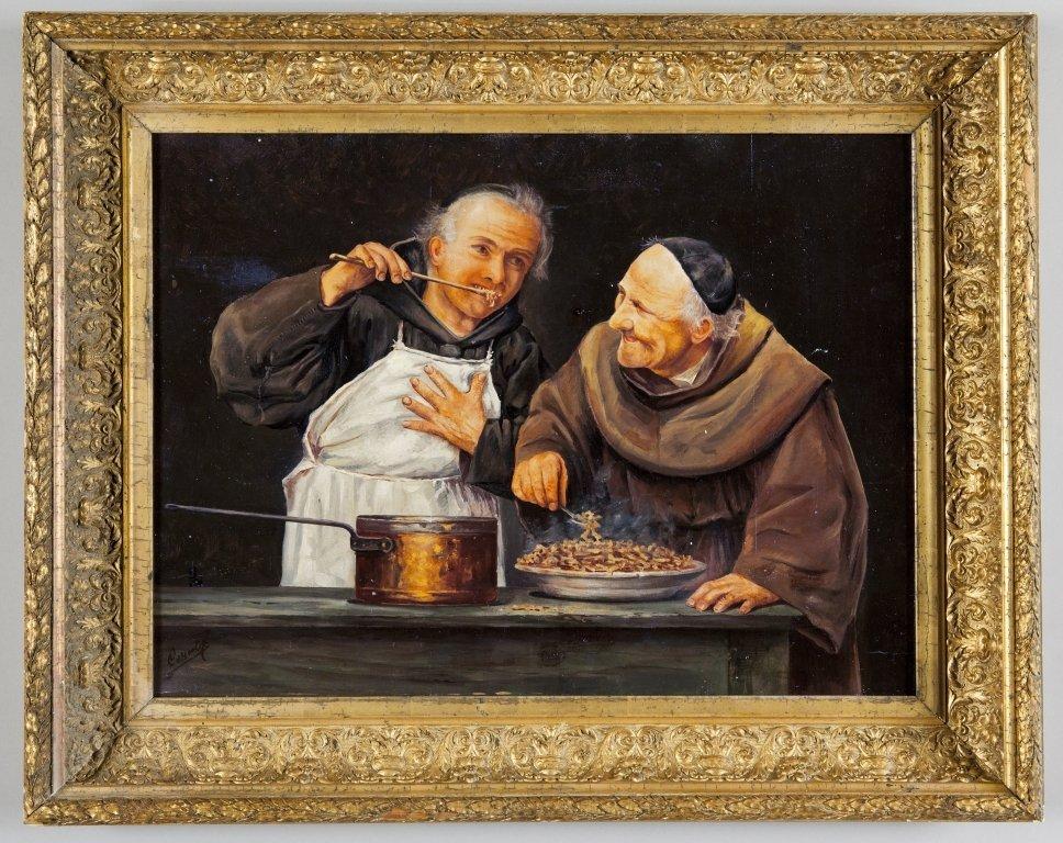 """Fraticelli golosi"" olio su tavola inizi sec.XX,"