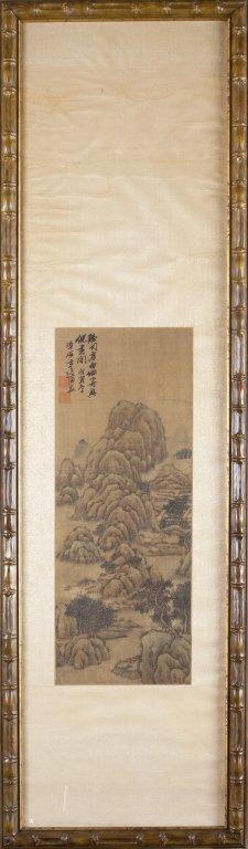 Dipinto su seta con scene di paesaggi, Cina