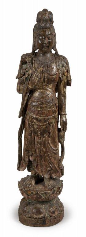 Scultura in legno raffigurante divinità