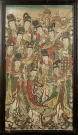 Grande pannello policromo dipinto su stucco