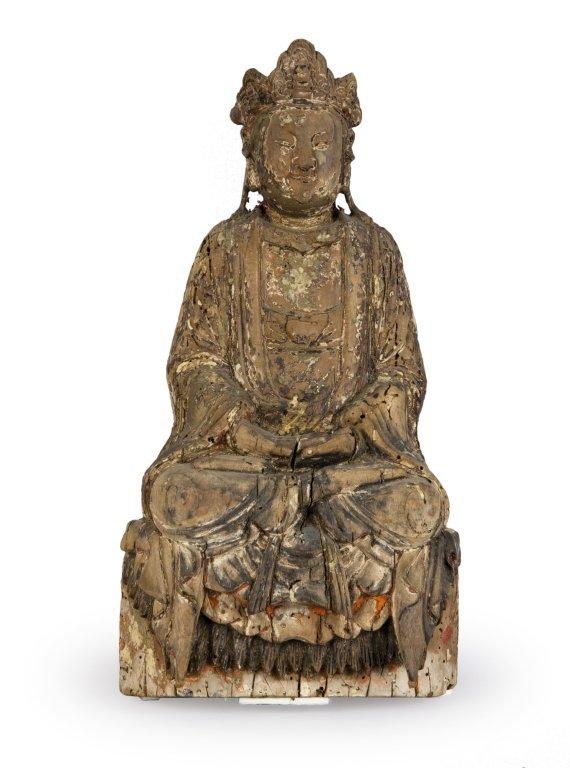 Scultura in legno raffigurante Budda, Cina