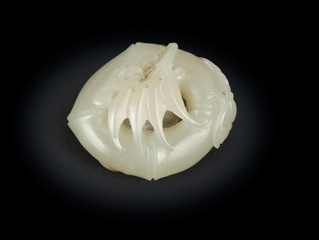 Pendente in giada Celadon a forma di Bambù, Cina