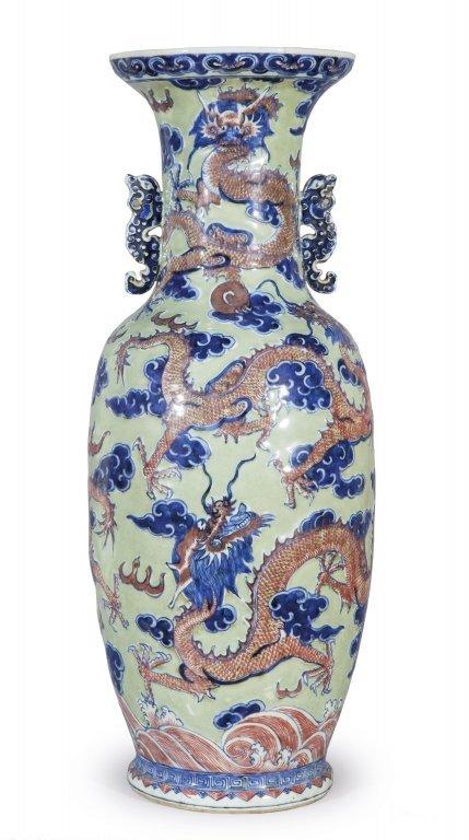 Vaso in porcellana a fondo turchese con sei