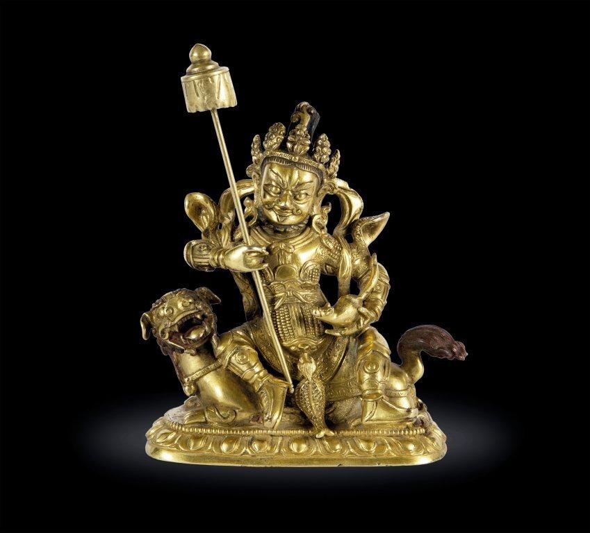 Scultura in bronzo dorato raffigurante dignitario