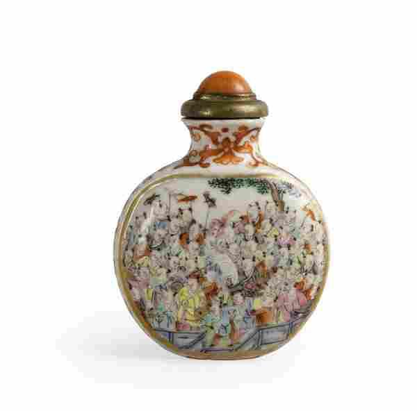 Snuff bottle in porcellana, famiglia Rosa con