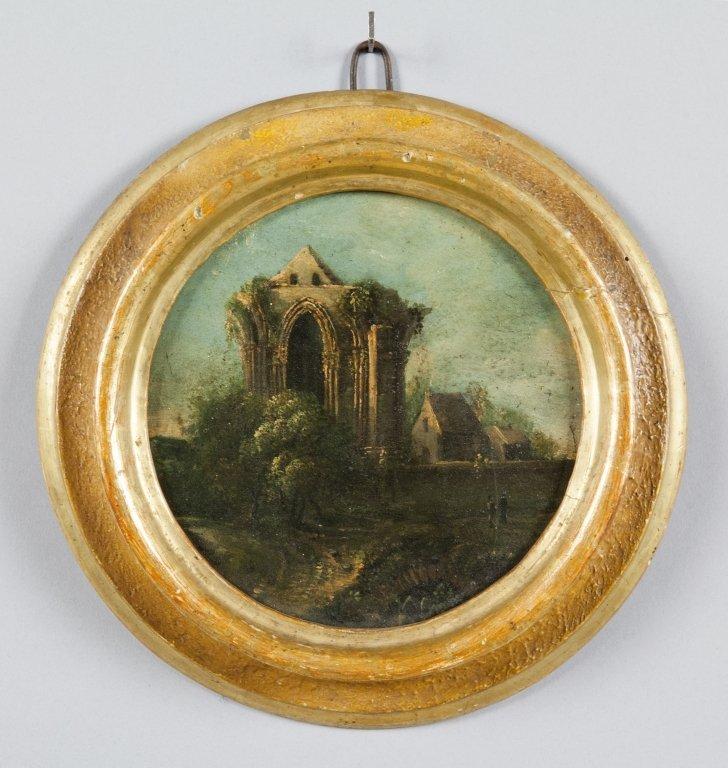 """Scuola emiliana sec.XVIII """"Paesaggio"""" olio su"""