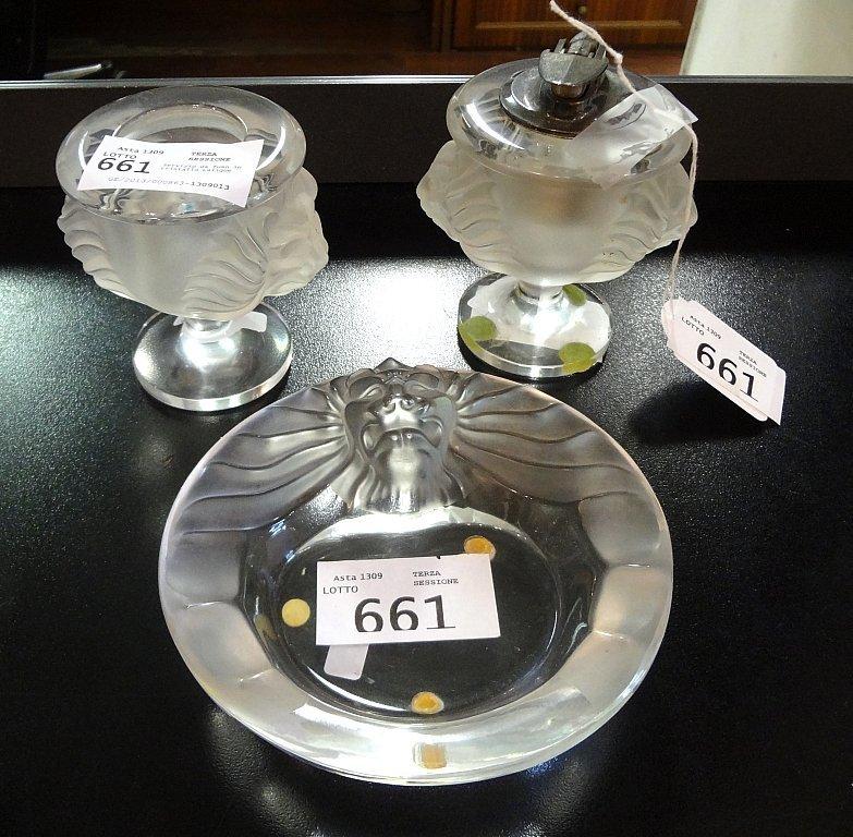 Servizio da fumo in cristallo Lalique