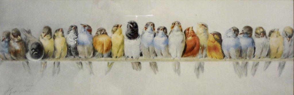 Il canto degli uccellini litografia da