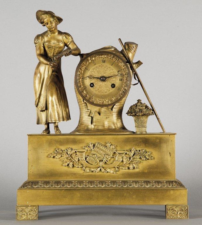 """Orologio Carlo X in bronzo dorato """"Gentildonna"""