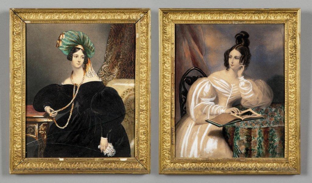 Ritratti di nobildonne coppia di stampe