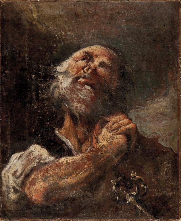 """Scuola veneta sec. XVIII """"San Pietro"""" olio cm."""