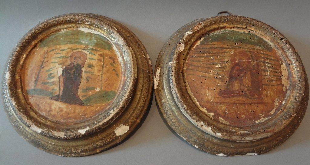 Coppia di antichi quadretti in arte povera di