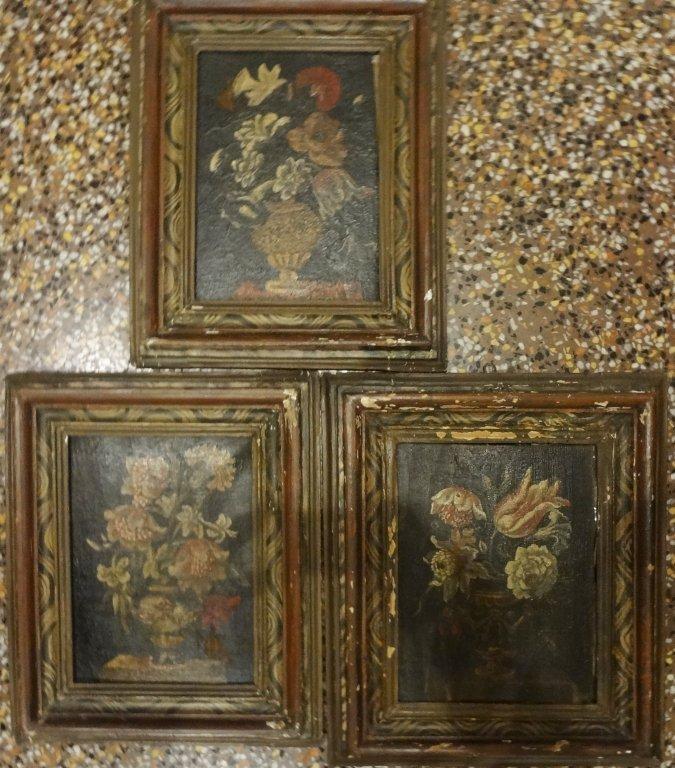 Vasi di fiori tre olii su tavola sec.XVIII,