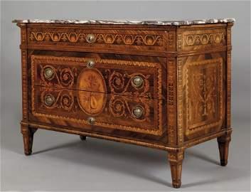Importante comò Luigi XVI lastronato in legno di
