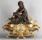 Orologio neogotico in bronzo dorato, allegoria