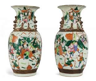 Coppia di vasi in porcellana, Famiglia Verde,
