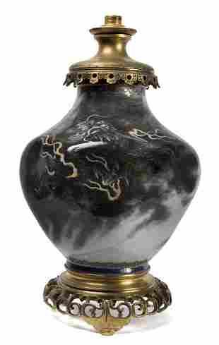 Vaso in porcellana con dragone montato a lampada,
