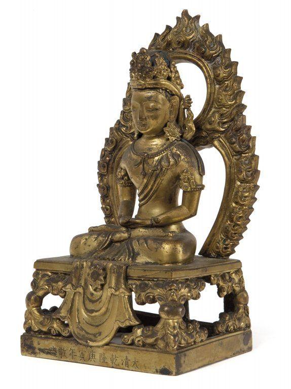 Statua in bronzo dorato raffigurante Amitaiyu,