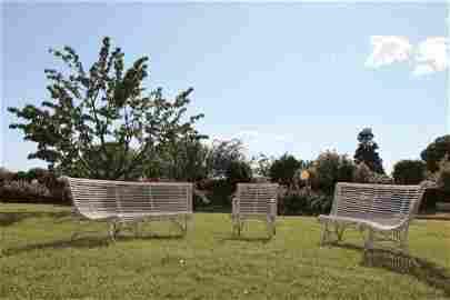 Coppia di panche da giardino in ferro a demi lune