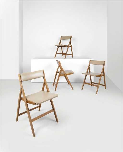 GIO PONTI quattro sedie pieghevoli imbottite