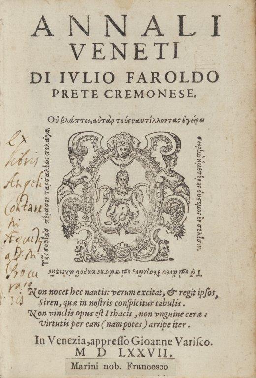 Giulio Faroldi (fl. XVII sec.).  Annali veneti