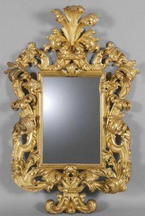 Grande Specchiera In Stile Barocco In Legno