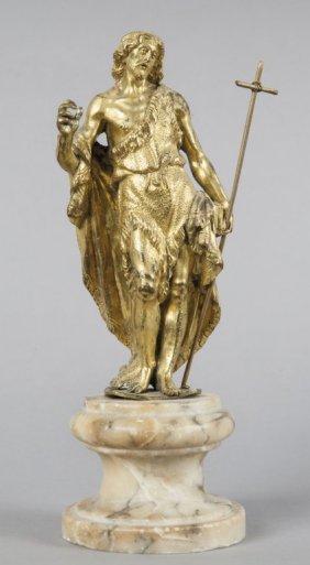 San Giovanni Battista, Statua In Bronzo Dorato,