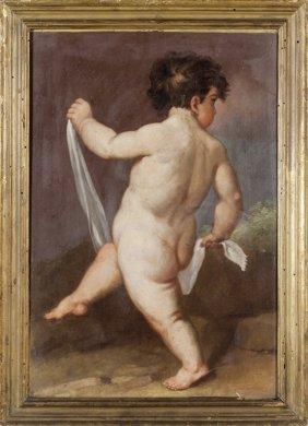 """Scuola Veneta Sec.xviii """"putto"""" Olio Cm.29x43"""