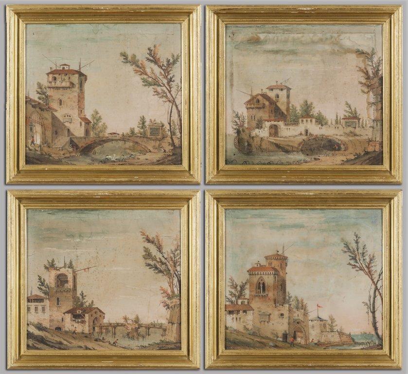 """Scuola emiliana sec.XVIII """"Paesaggi"""" quattro"""