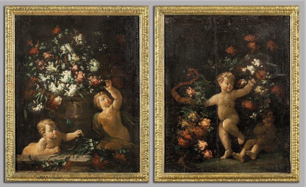 """Scuola romana sec.XVIII """"Putti con fiori"""" coppia"""