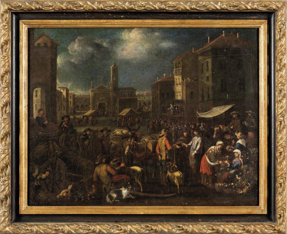 "Scuola veneta sec.XVIII ""Scena di mercato"""