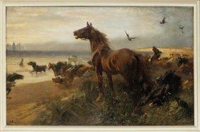 Charlton John (1849-1917) Cavalli Abbandonati