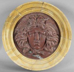 Medusa, Medaglione In Rosso Antico Con Cornice In