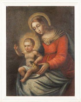 """Scuola Genovese Inizi Sec.xviii """"madonna Con"""