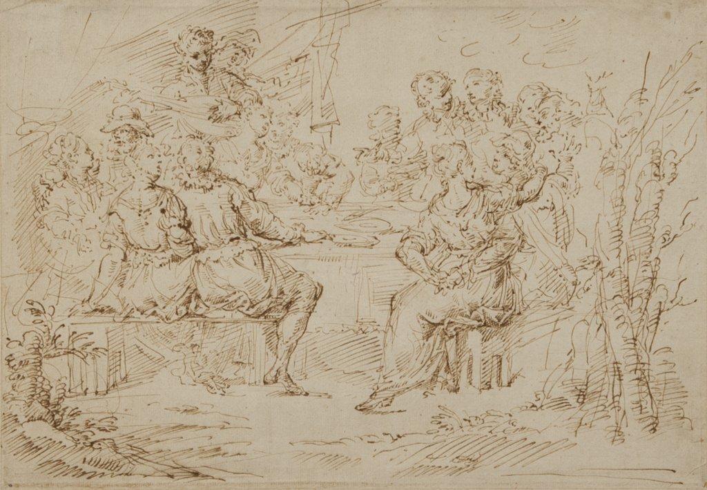 """DONATO CRETI (1671-1749)  """"Scena di convivio"""""""