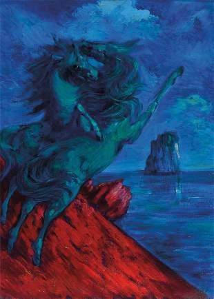 ALIGI SASSU (1912-2000) Cavalli Verdi