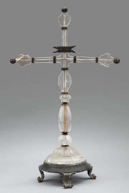 Croce in cristallo di rocca ed argento, Lombardia