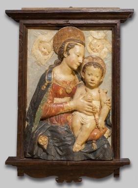 Madonna con Bambino, stucco policromo ad alto
