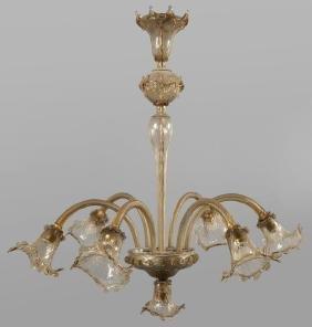 Lampadario a sei luci in vetro di Murano