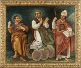 """Scuola Italiana sec. XVII """"Tre Santi"""" olio cm."""