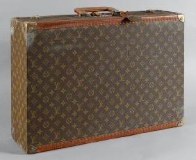 Valigia Louis Vuitton in tessuto e cuoio, anni