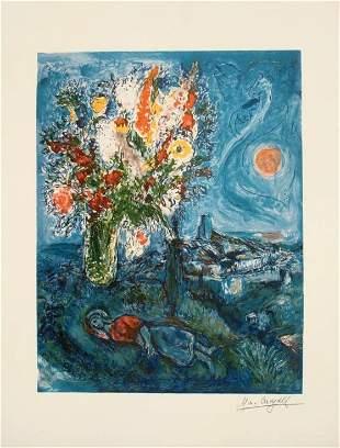MARK CHAGALL : La Dormeuse aux Fleurs