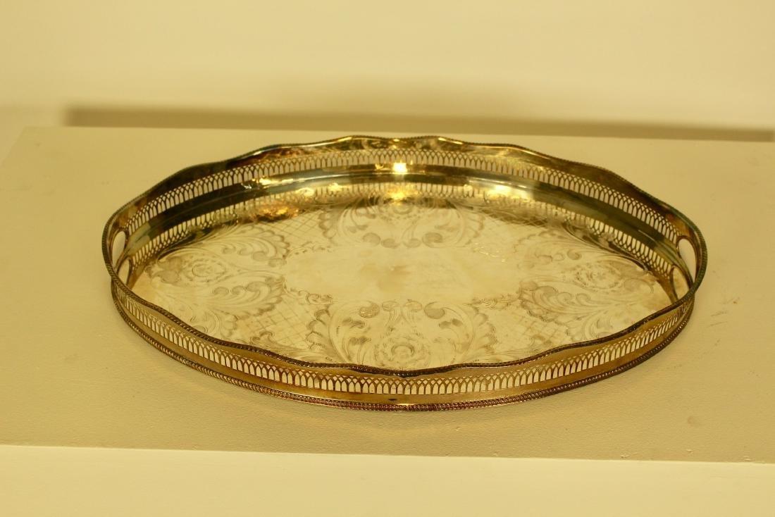 Oval Pierced Silver Plate Tray
